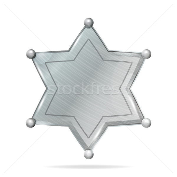 Sheriff Badge Star Vector. Realistic Blank Of Metal Sheriff Badge Star. Empty Blank With Shadow. Stock photo © pikepicture