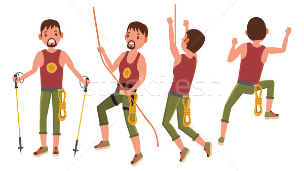 Climber Set In Action Vector. Bouldering Sport, Hobby. Top Of A Mountain. Tourist Walking, Trekking  Stock photo © pikepicture