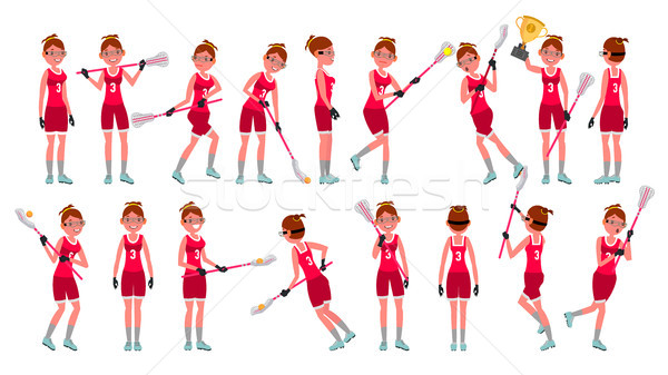 Lacrosse Girl Vector. Catch The Ball. Running. Teammates In Different Poses. Sport Competitions. Car Stock photo © pikepicture
