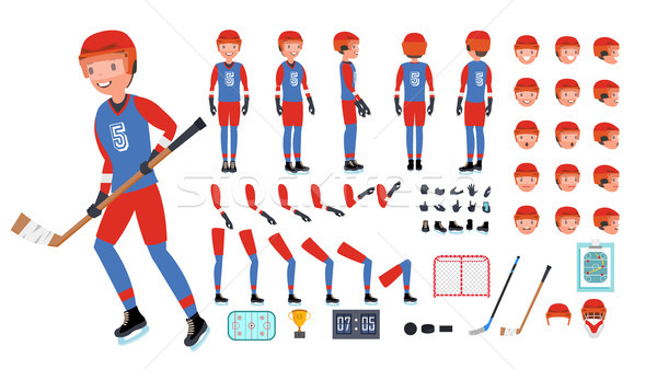 Ice Hockey Player Vector. Animated Character Creation Set. Ice Hockey Tools And Equipment. Full Leng Stock photo © pikepicture