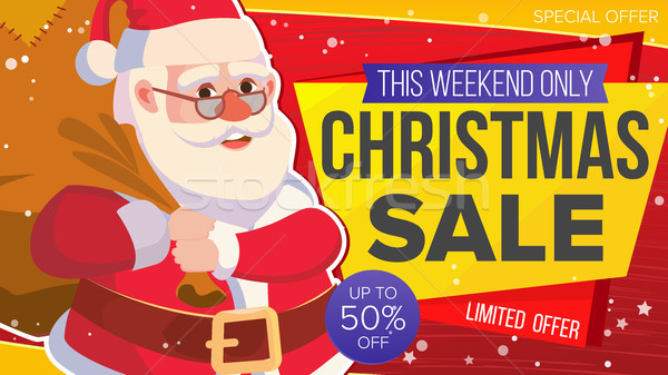 Christmas Sale Banner Vector. Xmas Santa Claus. Big Sale Offer. Cartoon Business Brochure Illustrati Stock photo © pikepicture