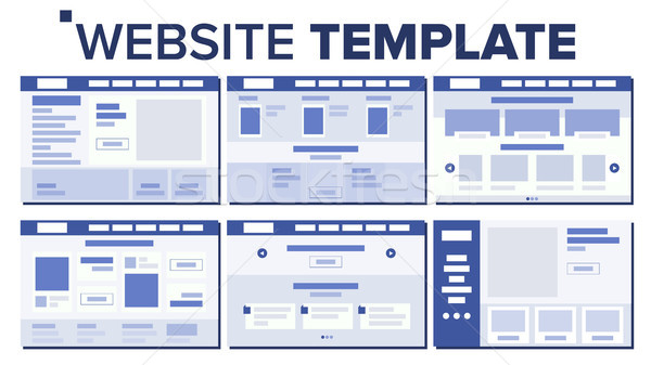 Website Page Set Design Vector. Responsive Web Pages Design Concept. UX, UI. Wireframes Layout, Arch Stock photo © pikepicture