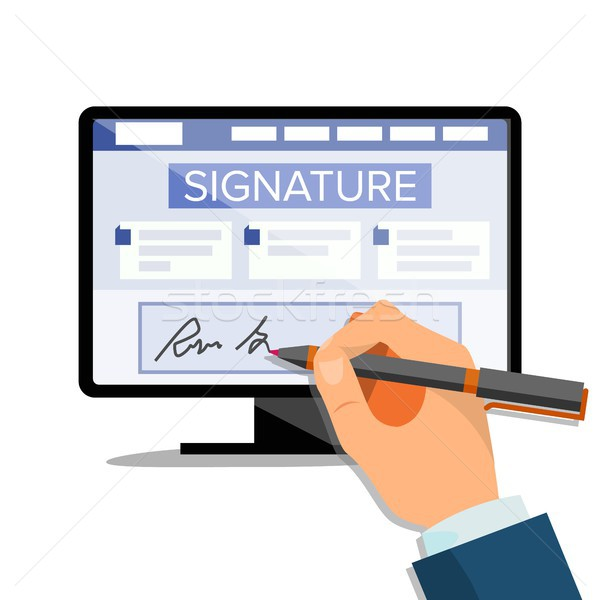 Electronic Signature Vector. Finance Digital Document. Electronic Contract. Computer. Businessman Ha Stock photo © pikepicture