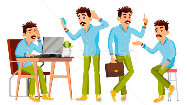 Business Man Character Vector. Working Man. Environment Process Creative Studio. Male Worker. Full L Stock photo © pikepicture