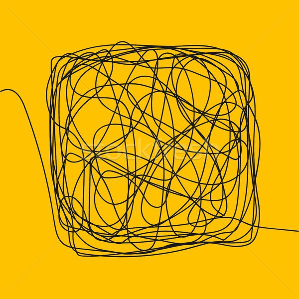 Tangle Scrawl Sketch Vector. Drawing Square. Thread Clew Knot. Chaos, Intellect. Illustration Stock photo © pikepicture