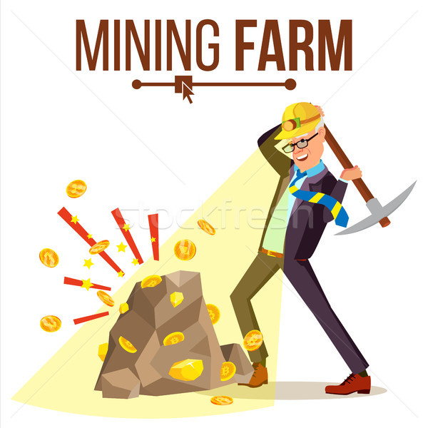 Mining Farm Vector. Businessman Miner. Digital Coin. Component Data. Pay Transaction. Isolated Flat  Stock photo © pikepicture