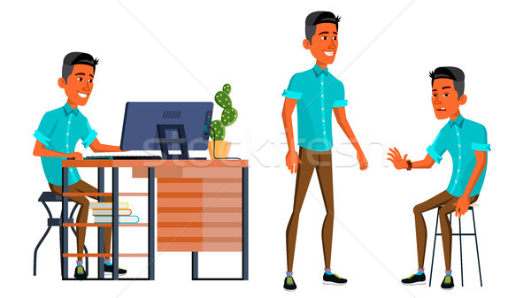 Office Worker Vector. Face Emotions, Various Gestures. Business Man. Professional Cabinet Workman, O Stock photo © pikepicture