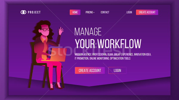 Workflow business landing pagina vector Stockfoto © pikepicture