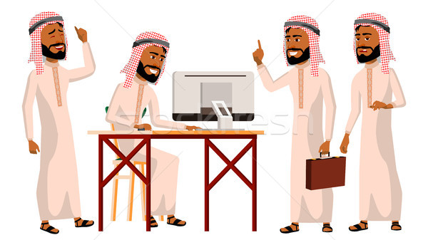 Stock photo: Arab Man Office Worker Vector. Thawb, Thobe. Ghutra. Business Set. Face Emotions, Gestures. Adult En