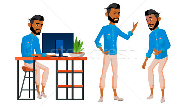 Arab Man Office Worker Vector. Business Set. Arabic, Saudi, Emirates, Qatar, Uae. Thawb, Thobe. Face Stock photo © pikepicture