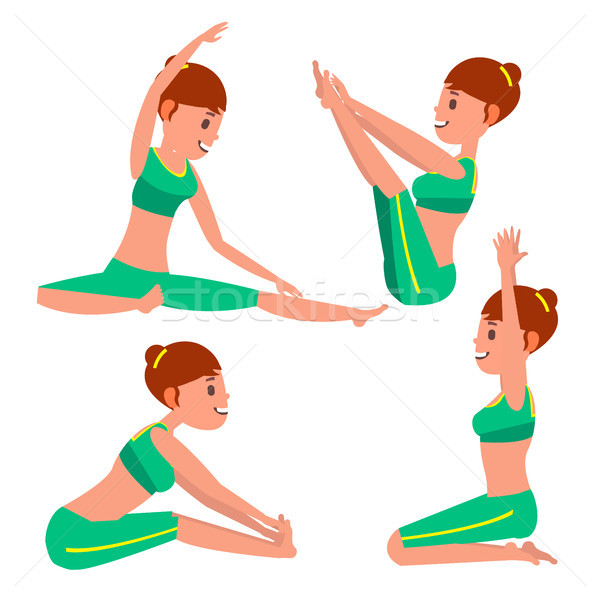 Yoga Female Vector. Stretching And Twisting. Practicing. Playing In Different Poses. Woman. Isolated Stock photo © pikepicture