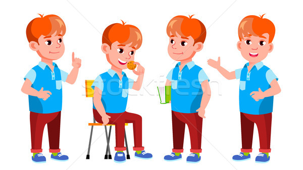 мальчика школьник Kid набор вектора Сток-фото © pikepicture