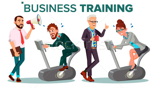 Business People Training Concept Vector. Businessman, Woman Running On Exercise Bike. Office Worker. Stock photo © pikepicture