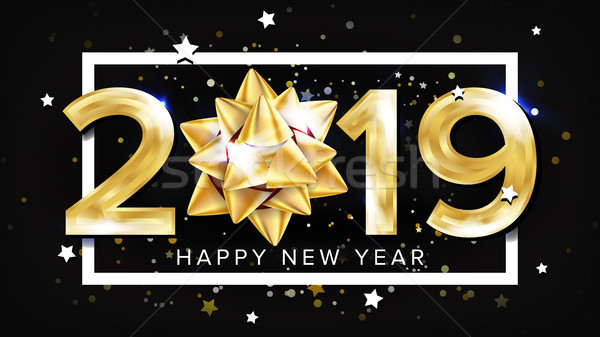 2019 Happy New Year Background Vector. Decoration Element. Beautiful Golden Gift Bow. Christmas. Ill Stock photo © pikepicture