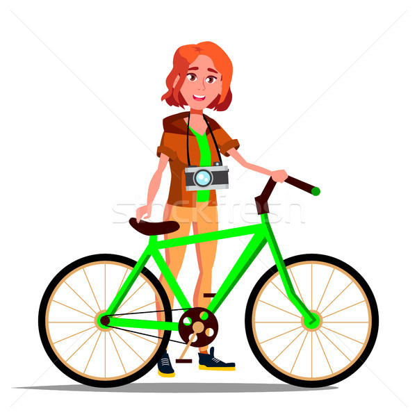 Teen Girl With Bicycle Vector. City Bike. Outdoor Sport Activity. Eco Friendly. Isolated Illustratio Stock photo © pikepicture