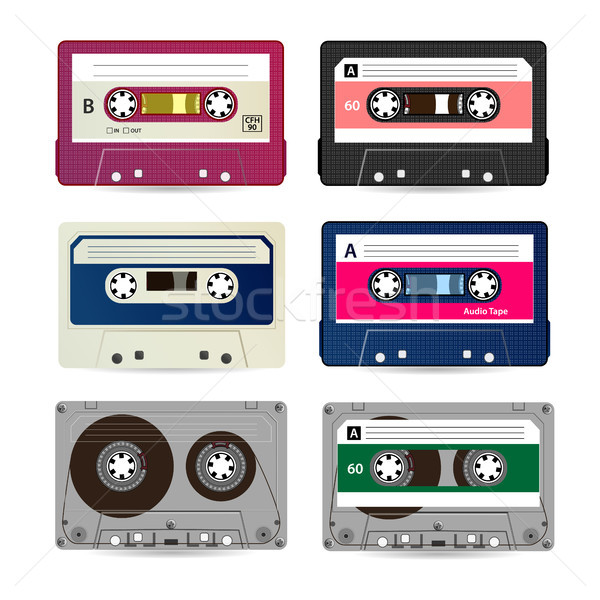 Retro audio cassette vector collectie verschillend Stockfoto © pikepicture