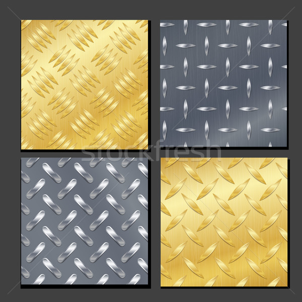Seamless Diamond Metal Background Set With Tread Plate. Gold, Chrome, Silver, Steel, Aluminum. Vecto Stock photo © pikepicture