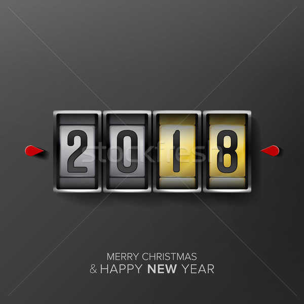 Happy New Year 2018. Vector Greeting Card Background. Odometer Style, Counter. Stock photo © pikepicture