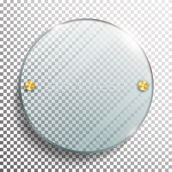 Advertising Round Glass Blank. 3d Realistic Vector Illustration. Circle Advertising Glass Board. Moc Stock photo © pikepicture