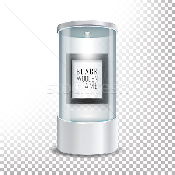 Transparent Glass Museum Showcase Podium With Dark Wooden Picture Frame Template, Spotlight And Spar Stock photo © pikepicture