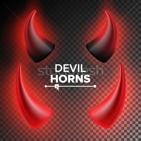 Devils Horns Vector. Red Luminous Horn. Realistic Red And Black Devil Horns Set. Isolated On Transpa Stock photo © pikepicture