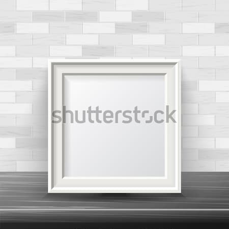 Vertical Square Frame Mock Up Vector. Good For Your Exhibition Design. Realistic Shadows. White Bric Stock photo © pikepicture