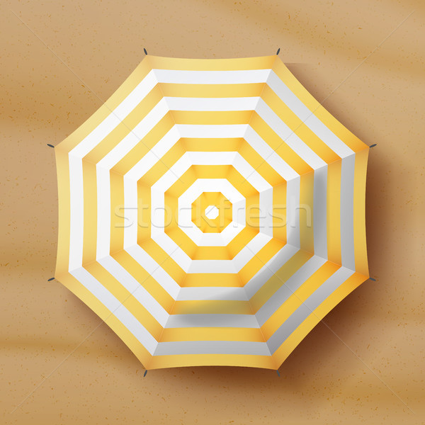 Beach Umbrella Vector. Realistic Parasol Icon. Sand Background. Relax Illustration. Stock photo © pikepicture