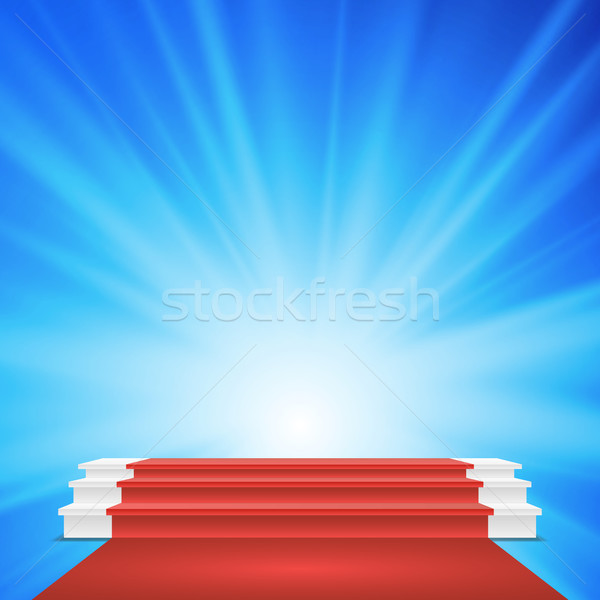 White Winners Podium Vector. Red Carpet. Stage For Awards Ceremony. Illustration Stock photo © pikepicture