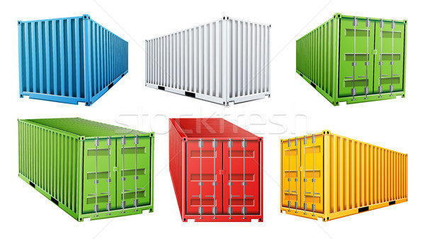 3D Shipping Cargo Container Set Vector. Blue, Red, Green, White, Yellow. Freight Shipping Container  Stock photo © pikepicture