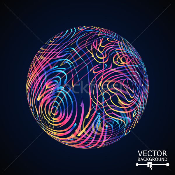 Sphere With Swirled Stripes. Vector Glowing Background Stock photo © pikepicture