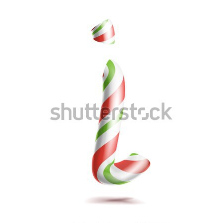 Stock photo: Letter I Vector. 3D Realistic Candy Cane Alphabet Symbol In Christmas Colours. New Year Letter Textu