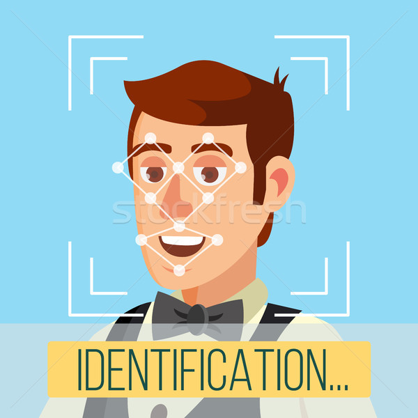 Stock photo: Biometric Face Identification Vector. Human Face With Polygons And Points. Safety Scan Illustration