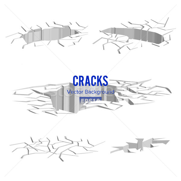 Cracks In The Ground Vector. Split Damage After Earthquake Stock photo © pikepicture