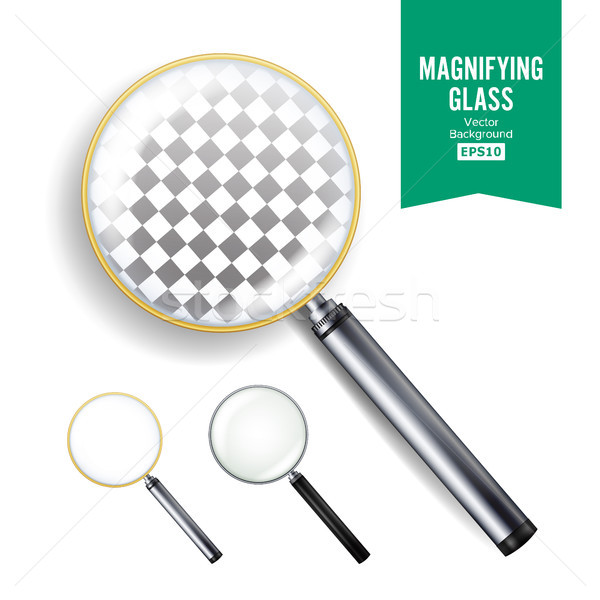 Realistic Magnifying Glass Vector. Set Of Different Magnifying Glass. Different Colors Of lenses And Stock photo © pikepicture