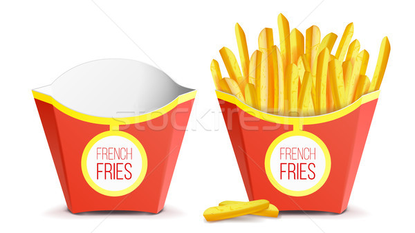 Realistic French Fries Potatoes Vector. Tasty Fast Food Potato. Empty And Full. Isolated On White Ba Stock photo © pikepicture