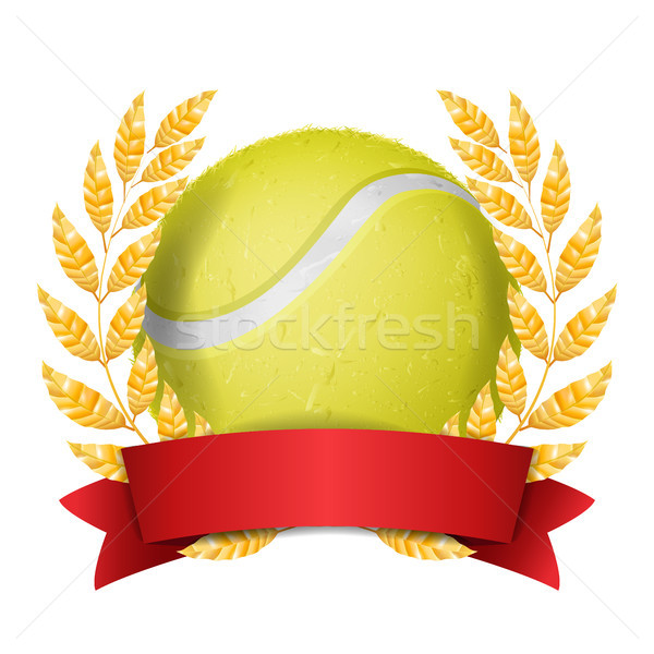 Tennis Award Vector. Sport Banner Background. Yellow Ball, Red Ribbon, Laurel Wreath. 3D Realistic I Stock photo © pikepicture