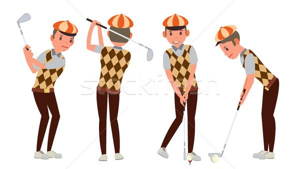 Foto stock: Clássico · jogador · de · golfe · vetor · balançar · tiro · desenho · animado