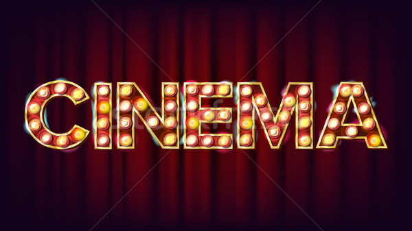 Cinema Background Vector. Retro Cinema Shining Light Sign. For Theater, Cinematography Advertising D Stock photo © pikepicture