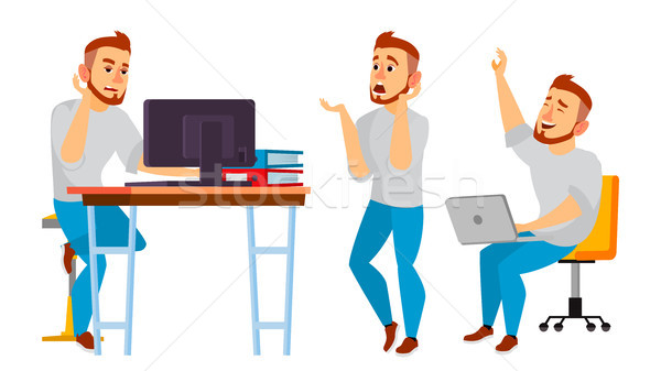 Business Character Vector. Working Man. Environment Process Creative Studio. Full Length. Designer,  Stock photo © pikepicture