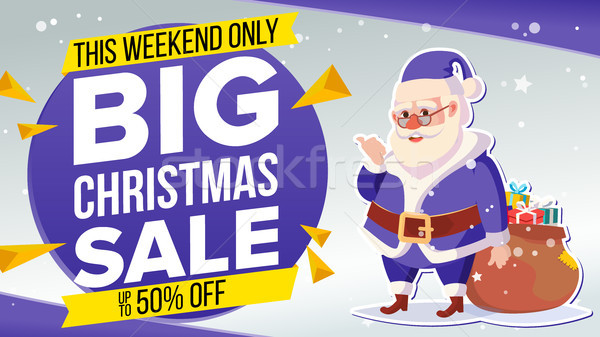 Christmas Sale Banner With Classic Santa Claus Vector. Advertising Design Illustration. Design For X Stock photo © pikepicture