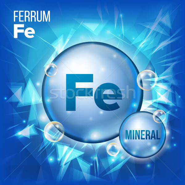 Fe Ferrum Vector. Mineral Blue Pill Icon. Vitamin Capsule Pill Icon. Substance For Beauty, Cosmetic, Stock photo © pikepicture