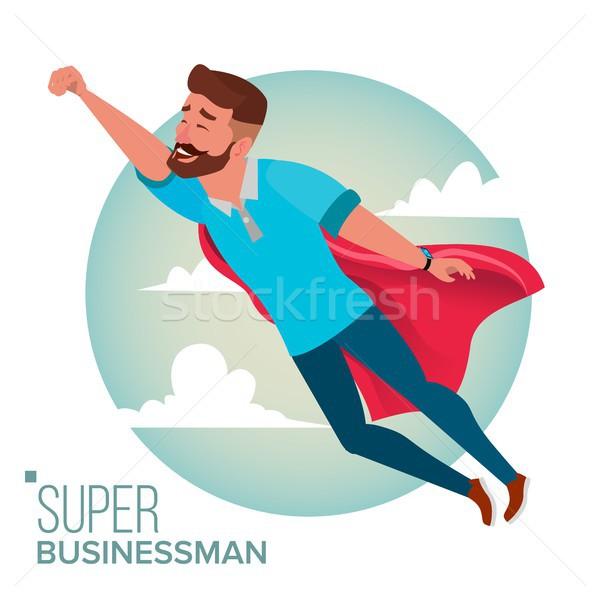 Stok fotoğraf: Süper · işadamı · karakter · vektör · başarılı · süper · kahraman