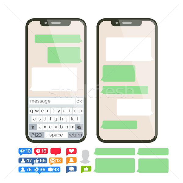 Chatbot Text Message Vector. Chat Bot Bubble Set Template. Modern Mobile Application Messenger Inter Stock photo © pikepicture