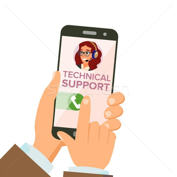 Technical Support Vector. Online Helpline Operator. Troubleshooting And Maintenance Department. Flat Stock photo © pikepicture