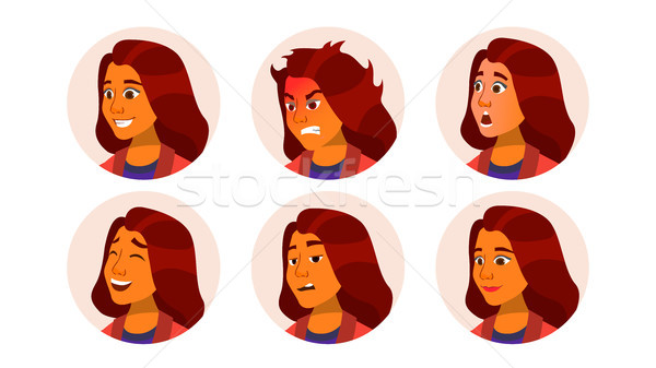 Avatar icon vrouw vector komische emoties Stockfoto © pikepicture