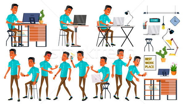 Office Worker Vector. Face Emotions, Various Gestures. Adult Business Male. Successful Corporate Off Stock photo © pikepicture