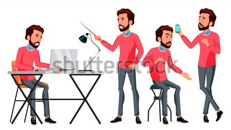 Office Worker Vector. Face Emotions, Various Gestures. Businessman Worker. Happy Job. Partner, Clerk Stock photo © pikepicture