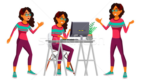 Office Worker Vector. Woman. Happy Clerk, Servant, Employee. Business Human. Arab. Saudi. Face Emoti Stock photo © pikepicture