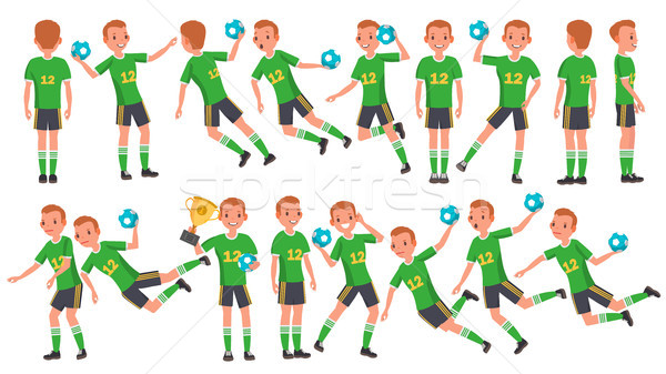 Handball Male Player Vector. In Action. Throws Ball In Jump. Poses. Attack Figure. Cartoon Character Stock photo © pikepicture