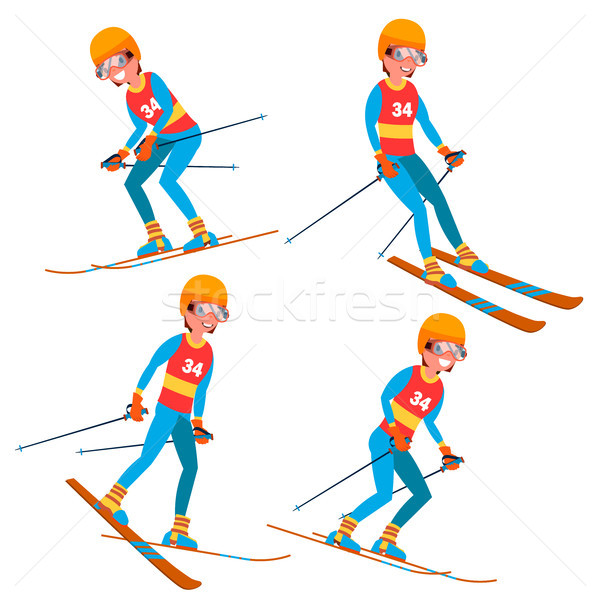Skiing Player Male Vector. Winter Activities Rest. Ski Resort. Isolated Flat Cartoon Character Illus Stock photo © pikepicture